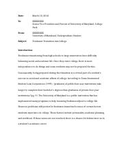 ENGL394 Essay Prompt About Freshman Transition Into College.docx