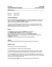 annotated bibliography assignment sheet Annotated bibliography assignment sheet closely adapted from an assignment sheet by rich miller, director of composition, with changes overview.