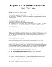 Impact on international travel and tourism