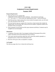 Assignment Format Requirements