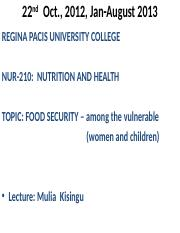 FOOD SECURITY IN CHILDREN LESSON 4