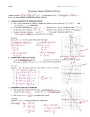 Graphing Linear Relations Review