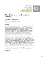 the rhetoric of youth justice in canada