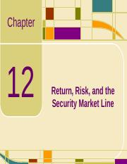 Chap12_Return, Risk, and the Security Market Line.ppt
