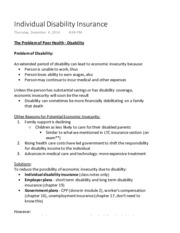 Acturarial Science 1021 Individual Disability Insurance