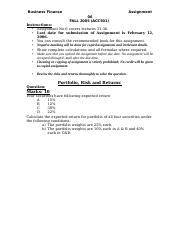 Business Finance - ACC501 Spring 2005 Assignment 06