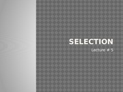 selection lecture 5