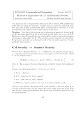 EEquivalence of GM and Semantic Security notes