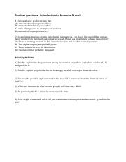 Seminar QUESTIONS - Introduction to Economic Growth (1).docx