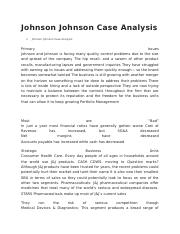 Johnson Johnson Case Analysis