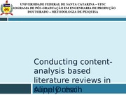 Conducting content-analysis based literature reviews in supply chain management Review
