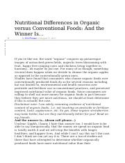 Nutritional Differences in Organic versus Conventional Foods