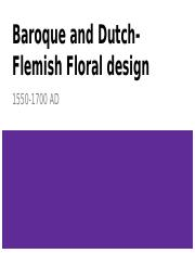 Baroque and Dutch-Flemish Floral design