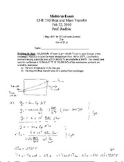 CHE 210 Spring 2010 Quiz 3 Solutions