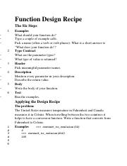 Function Design Recipe