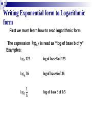 Topic 6 Logarithms