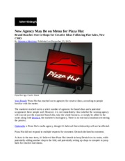 New Agency May Be on Menu for Pizza Hut