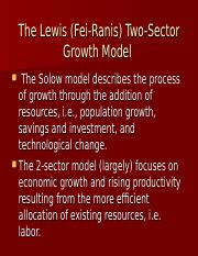 Class slides, the Lewis (Fei-Ranis) 2-sector model