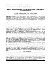 Impact of Capital market reforms on the Indian Stock Market