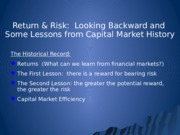 FINA 3320 Capital Market History Risk and Return Notes