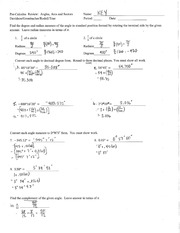 Precal Angles, Arcs and Sectors Review Solutions