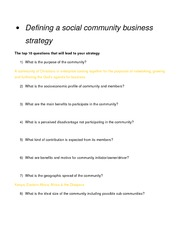 Defining a social community business strategy