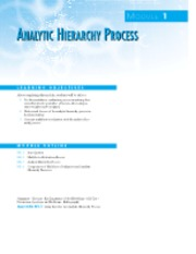 MODULE 1 - ANALYSIS HIERARCHY PROCESS [AHP]
