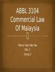 ABBL 3104 Commercial Law Of Malaysia