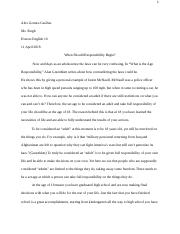 Age of Responsibility essay