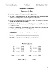 ECE568 Official Exam 2010 Winter Solutions
