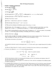 Math 100 Sample Exam Questions