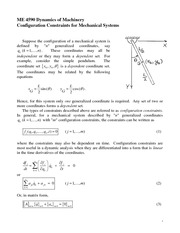 Configuration Constraints for Mechanical Systems Review