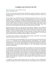 Perina, RM Candidates and criteria for the OAS EL UNIVERSAL SEP '14 Translated to English