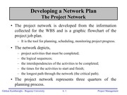 Developing a Network Plan - CPM
