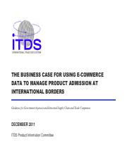 ITDS- Using e-commerce data to manage product admission at international borders