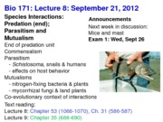 Biology 171 Lecture 8