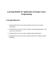 Learning Objectives Module110