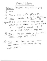 Exam 1 Solution on Linear Algebra Fall 2014