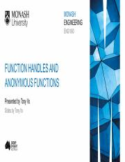 11.2 Function handles and anonymous functions