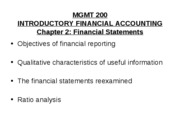 Mgmt 200 Fall 2009 Chap 2 Financial Statements