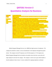 QNT351 Week 5 Learning Team Assignment - Analyzing and Interpreting Data