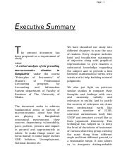 A critical analysis of the prevailing macroeconomics situation in Bangladesh.docx