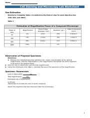 Name Cell Staining and Microscopy Lab Worksheet Specimen Volvox Lens of