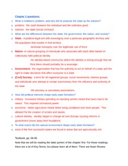 Chapter 2 reading notes (Review for Final) - Governments and Politics