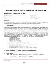SAP Exercise 3 - Procure to Pay(2)