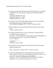 Problems and answers for unit 3-Cost of capital