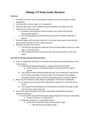 Biology 171 Study Guide Glycolysis