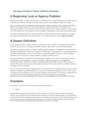 The Agency Problem in Finance.docx