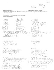 Polynomial Review Guide Key