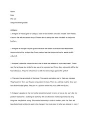 Antigone Worksheet - Name Date Phil 110 Antigone Viewing Guide ...